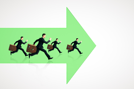 Businessmen with briefcases running on abstract green arrow. White background. Growth and finance concept