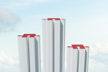 Creative puzzle building on sky background with clouds. Investment and partnership concept. 3D Rendering