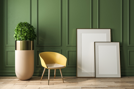 Modern green interior with decorative plant, chair and empty banner. Mock up, 3D Rendering
