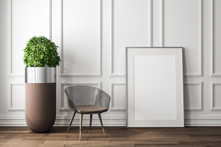 Modern white interior with decorative plant, chair and empty frame. Mock up, 3D Rendering Stockfoto