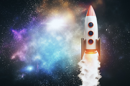 Launching rocket on colorful night sky space background. Startup and creativity concept. 3D Rendering
