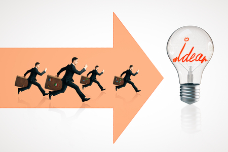 Businessmen running on abstract arrows towards lamp. Teamwork and idea concept Stock Photo
