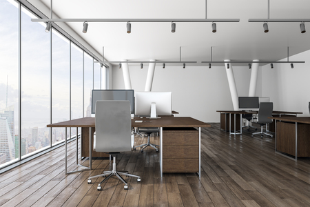 New coworking office interior with New York city view and daylight. 3D Rendering
