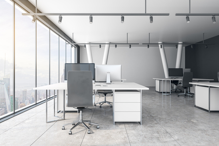 Concrete coworking office interior with New York city view and daylight. 3D Rendering Reklamní fotografie
