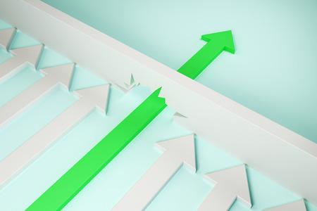 Zielona strzałka przedzierając się przez ścianę na niebieskim tle. Koncepcja przełomu i sukcesu. Renderowanie 3D