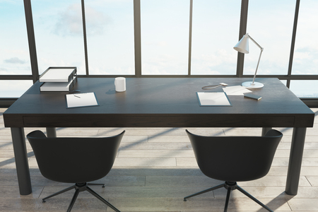 Office desktop with items in interior with sky view. 3D Rendering