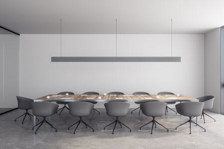 Modern meeting room interior with furniture. 3D Rendering