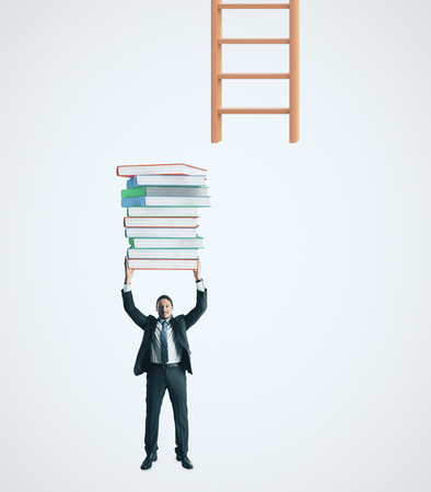 Businessman with piled books trying to reach ladder on white background. Growth and knowledge concept