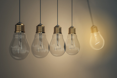 Low of light bulbs on light background. Idea and genius concept. 3D Rendering