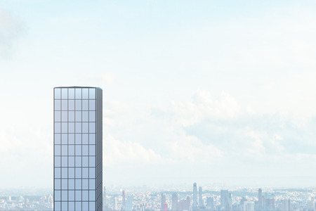 Creative glass skyscraper on sky background with clouds. Downtown and office concept. 3D Rendering