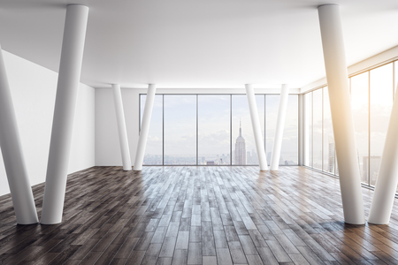 Modern empty white office interior with wooden floor and panoramic New York city view. 3D Rendering