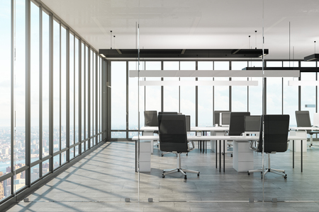 Luxury office interior with panoramic city view and daylight. 3D Rendering
