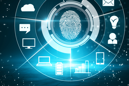 Digital business interface with finger print on blurry background. Biometrics and access concept. 3D Rendering Stock Photo