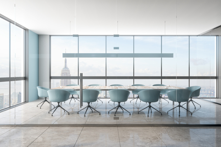 Modern office meeting room interior with New York city view. Workplace and design concept. 3D Rendering