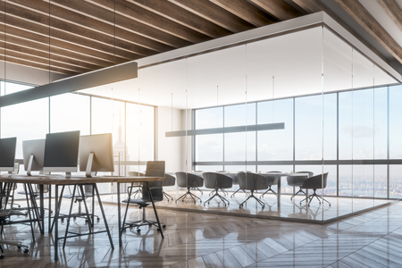 Luxury office meeting room interior with New York city view. Workplace and design concept. 3D Rendering