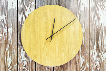 Close up of creative round wooden clock. Design concept. 3D Rendering Stock Photo
