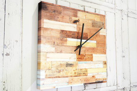 Close up of creative square wooden clock. Design concept. 3D Rendering