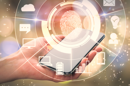 Female hand holding smartphone with digital business interface and finger print. Recognition and technology concept. Double exposure
