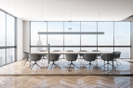 Contemporary office meeting room interior with New York city view. Workplace and design concept. 3D Rendering