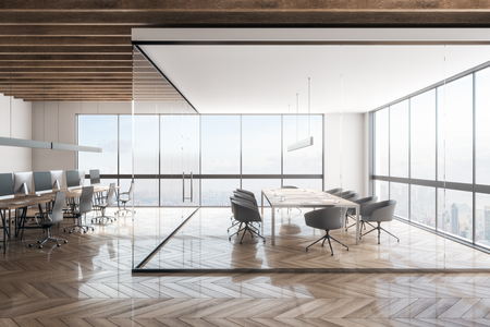 Contemporary office interior with New York city view. Workplace and design concept. 3D Rendering