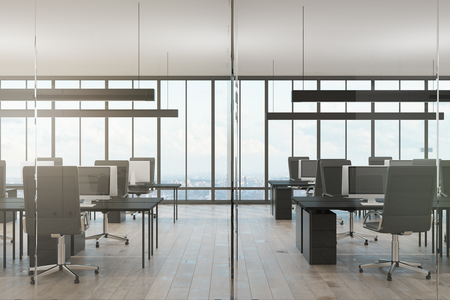 Minimalistic coworking office interior with panoramic city view. 3D Rendering