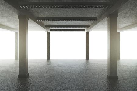 Creative concrete garage interior with columns. 3D Rendering Banco de Imagens - 115535246