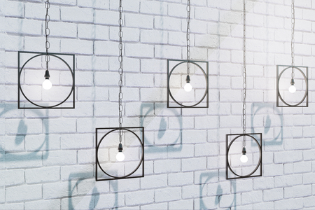 Abstract lamps on brick wall background. 3D Rendering