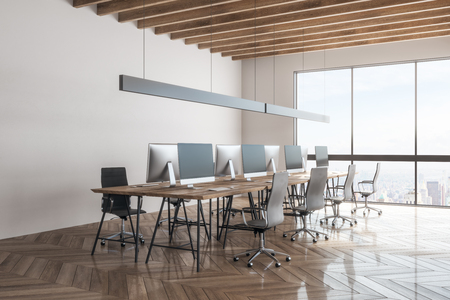 Stylish office interior with New York city view. Workplace and design concept. 3D Rendering