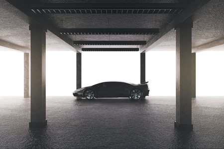 Spacious garage with sports car. Transport and style concept. 3D Rendering