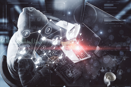Hacking and theft concept. Hacker with digital business interface on blurry office interior background. Double exposure Banco de Imagens