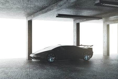 Concrete garage with sports car. Transport and style concept. 3D Rendering 스톡 콘텐츠