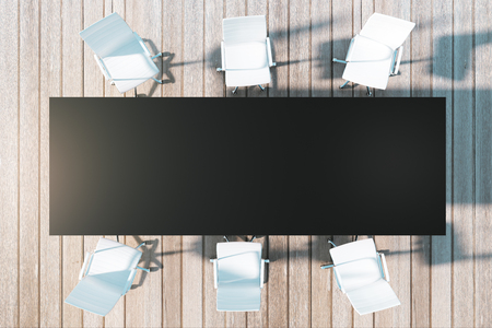 Top view of rectangular meeting table and chairs. Mock up, 3D Rendering Stock Photo