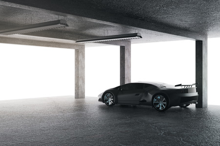 Bright garage with sports car. Transport and style concept. 3D Rendering