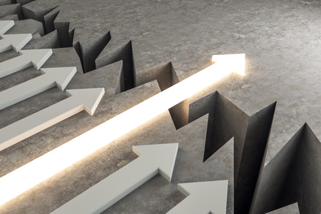 Arrow overcoming gap. Success, growth and direction concept. 3D Rendering