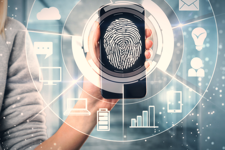 Female hand holding smartphone with digital business interface and finger print. Recognition and id concept. Double exposure Stock Photo