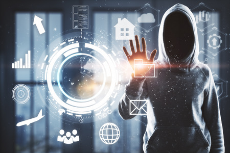 Hacking and finance concept. Hacker with digital business interface on blurry office background. Double exposure