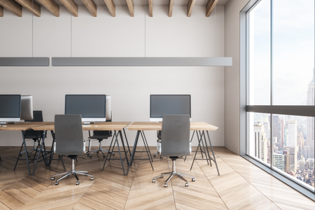 Luxury office interior with New York city view. Workplace and design concept. 3D Rendering
