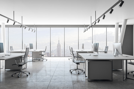 Clean coworking office interior with New York city view and daylight. 3D Rendering Stock Photo