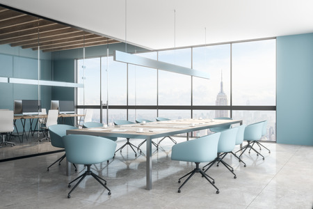 Clean office meeting room interior with New York city view. Workplace and design concept. 3D Rendering