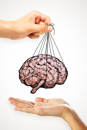 People handing brain sketch on light background. Brainstorm and abstraction concept