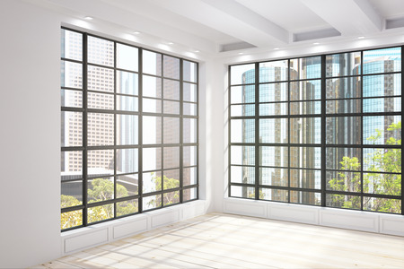 Modern unfurnished interior with New York city Central park view. 3D Renderind Stock Photo