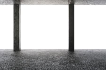 Grunge concrete garage interior with columns. 3D Rendering