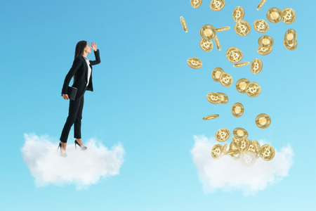 Side view of young businesswoman on cloud looking at bitcoins. E-commerce and finance concept Archivio Fotografico - 115537774