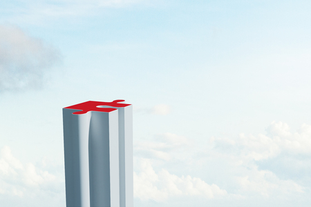 Creative puzzle building on sky background with clouds. Investment and company concept. 3D Rendering