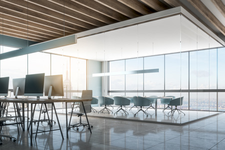 New office interior with New York city view. Workplace and design concept. 3D Rendering