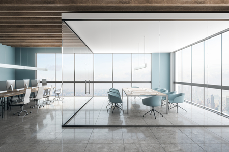 Bright office meeting room interior with New York city view. Workplace and design concept. 3D Rendering Zdjęcie Seryjne
