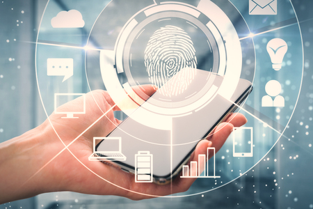 Female hand holding smartphone with digital business interface and finger print. Recognition and pass concept. Double exposure