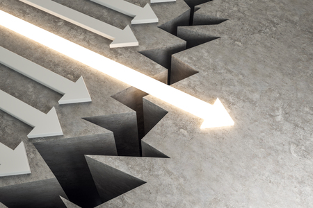 Arrow overcoming gap. Success, growth and way concept. 3D Rendering  Stock Photo