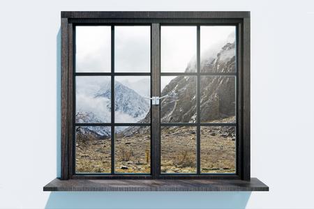 Modernes Fenster mit Landschaftsblick. Haus- und Designkonzept. 3D-Rendering