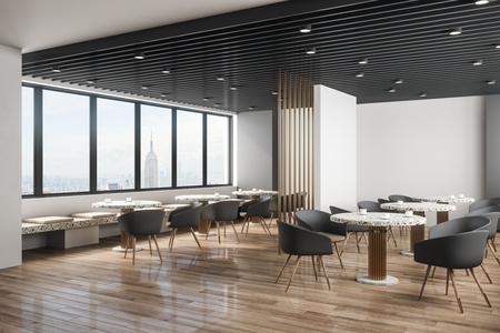 Contemporary cafe interior with panoramic new york city view, daylight and furniture. Design concept. 3D Rendering Zdjęcie Seryjne